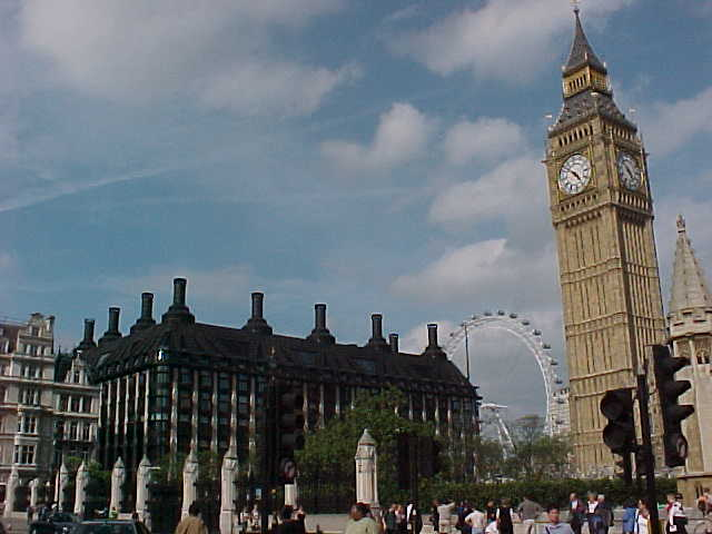 The Big Ben with behind it the London Eye wheel...
