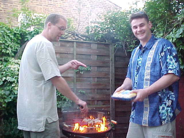 Evan and his American friend at the barbeque, showing how it is not supposed to go...