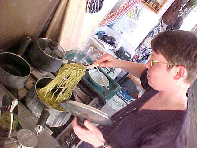 Carol cooking Italian pasta.
