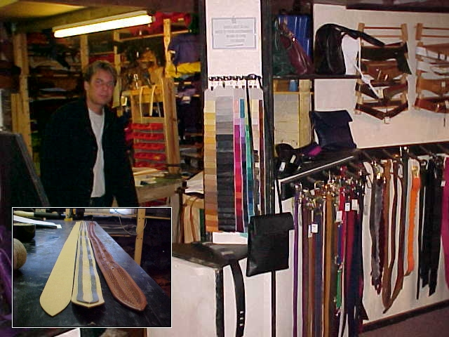 Nick Williams<#k#>' leather workshop. The image left below shows you how a leather belt is made...