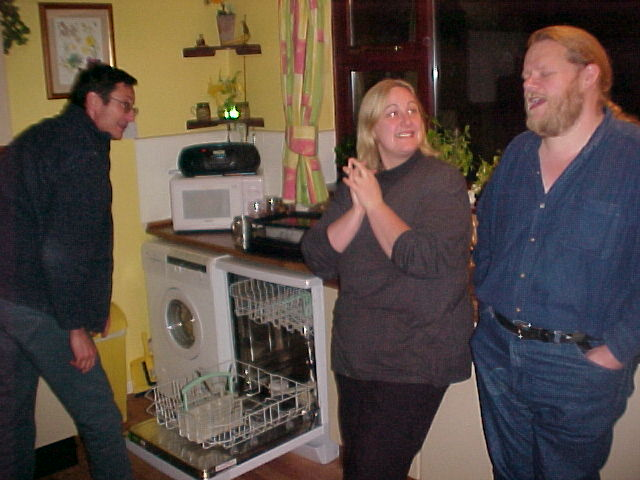 Even after dinner, in the kitchen, with Colin filling the dish washer, the discussion continued...