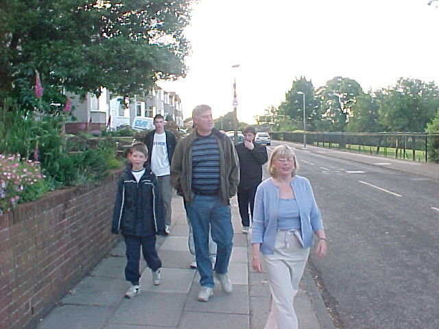 Two families on the way to the pub...