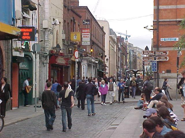 Walking through the streets of Dublin.