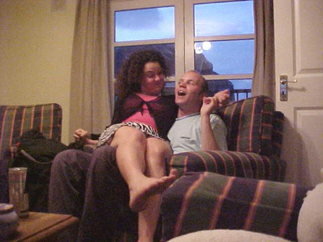 Toni sitting on me, while I prepared my tickling contest....