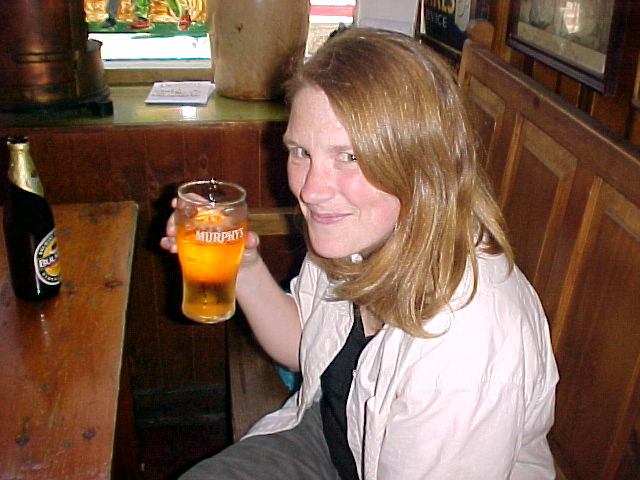 That's my hostess Christine nipping her beer.