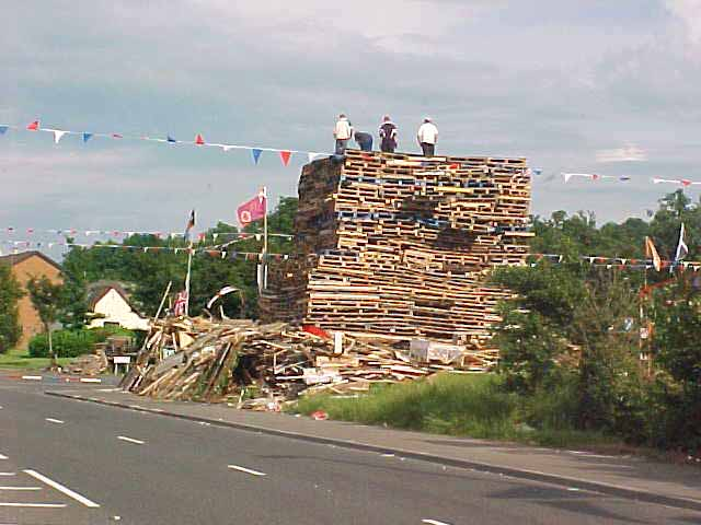 The first bonfire I saw in Belfast, to be put on fire on the 11th to the 12th, to celebrate the Battle of the Boyne.