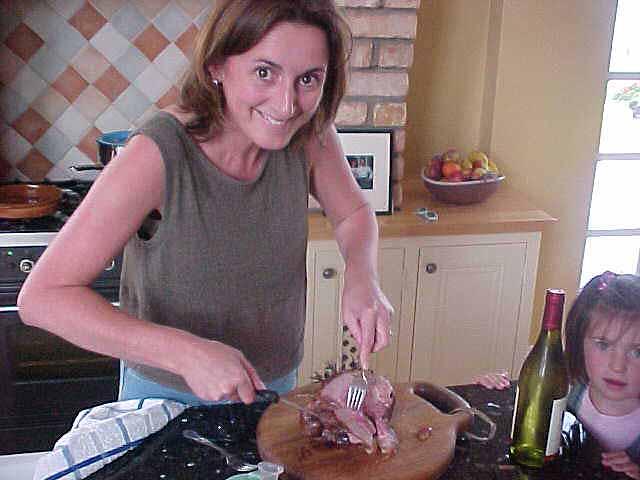 Carol cutting lamb meat for dinner...