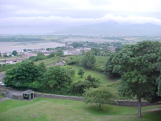 The view over Dundrum and Newcastle and one of the highest mountains on this island at the background.