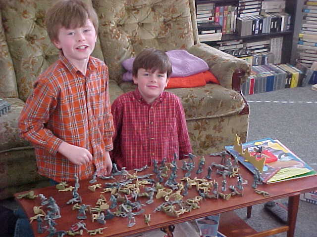 Samuel and Oliver Shiels, playing with toy soldiers.
