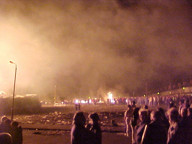 While the fire burned, a deejay was pumping those trance beats over the field...