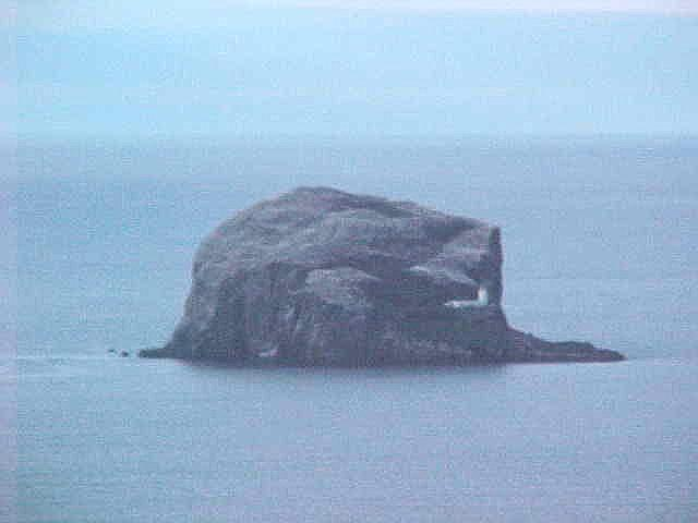 This is the famous Bass Rock in the North Sea. The white topping on it are breeding gannet birds!