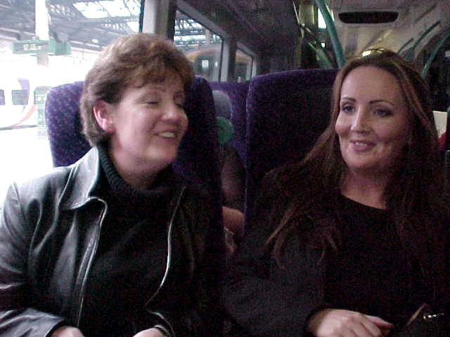 Laraine and her daughter in the train....