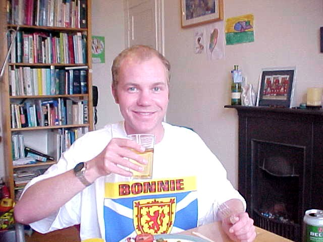 Cheers! Me in my Bonnie Scotland shirt I got from Alan this morning!