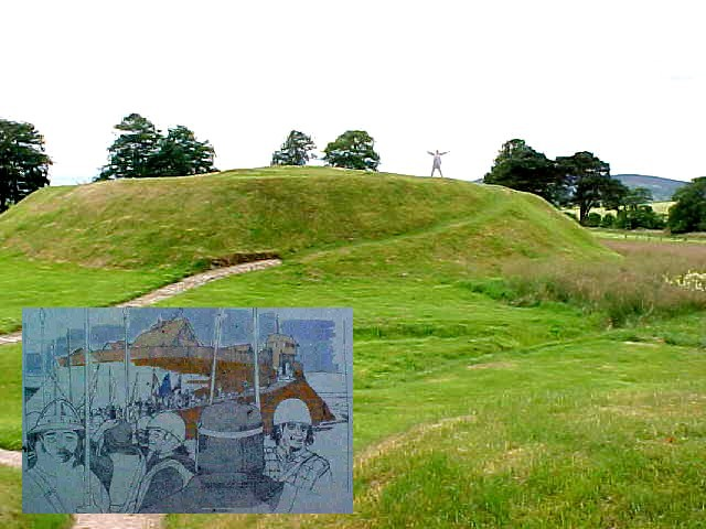 ... and that is all that remains of a 12th c. motte and bailey castle...  (by the way, that is me there, right on top of it...)