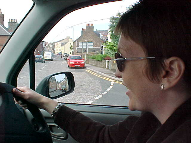 A view on Elaine and the streets during the superspeed city tour...