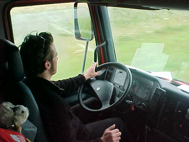 In the truck with Jean-Pierre the truck driver, trucking through Scotland!