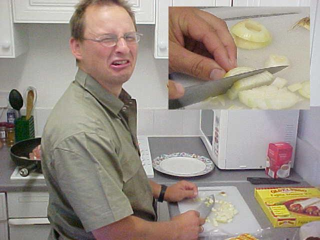 He cried out loud as he cutted the onions...