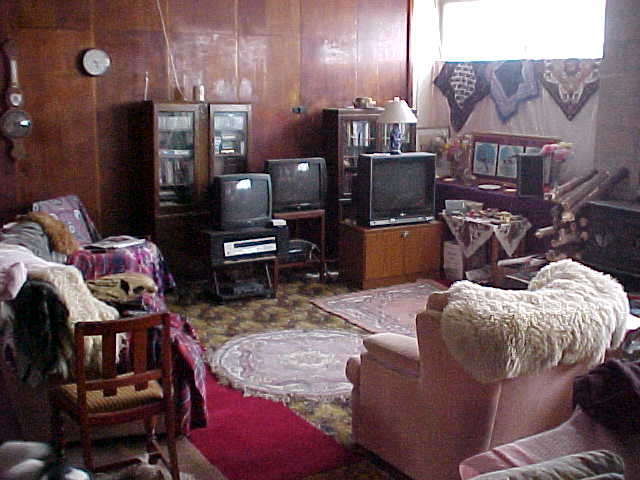The living room with three television, one hooked on the cable, one for the video and one as furniture.