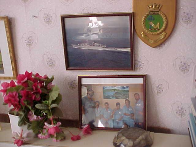 The evidence of Douglas navy years above my guest room bed.