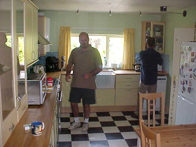 Ian and Tony in their kitchen around breakfast time...