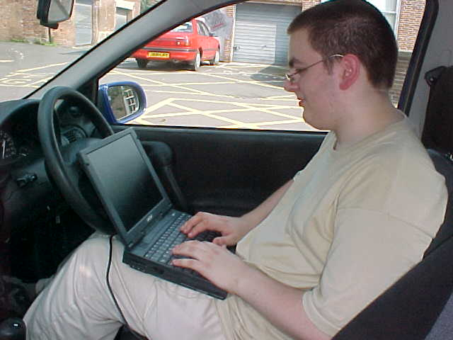 During the time we spent in the car, WackyBrit.com looked up the exact location of my next host on his laptop!