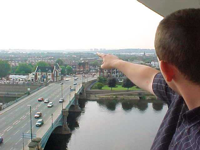 From their balcony I had a great panoramic view over Nottingham. Ben points to the old center of the town...