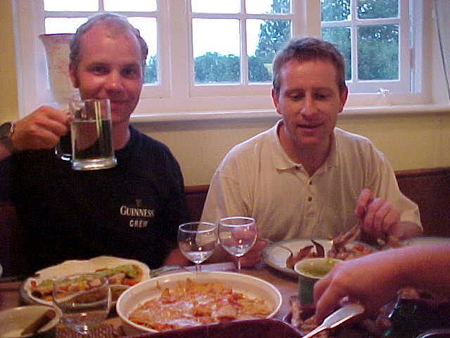 Me and James at the family dinner. Cheers.