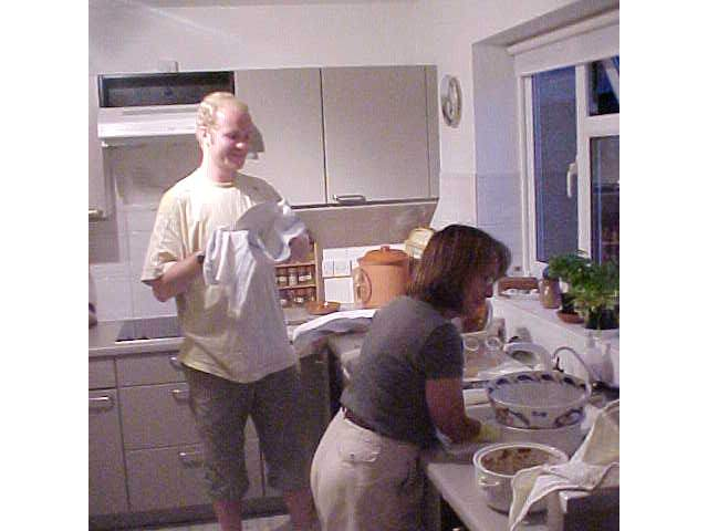 Doing the dishes with Yve.