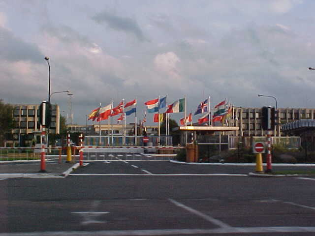 ... so she picked me up for a tour around town and a visit to a drive-in. Here you see the entrance of the NATO headquartes.