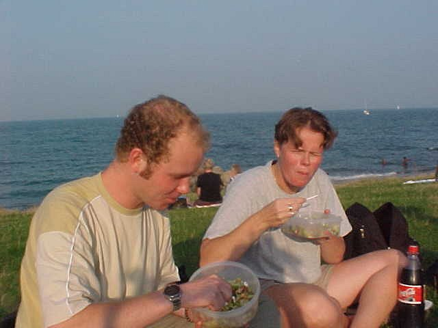 Ingrid and me having a picknick at the beach.