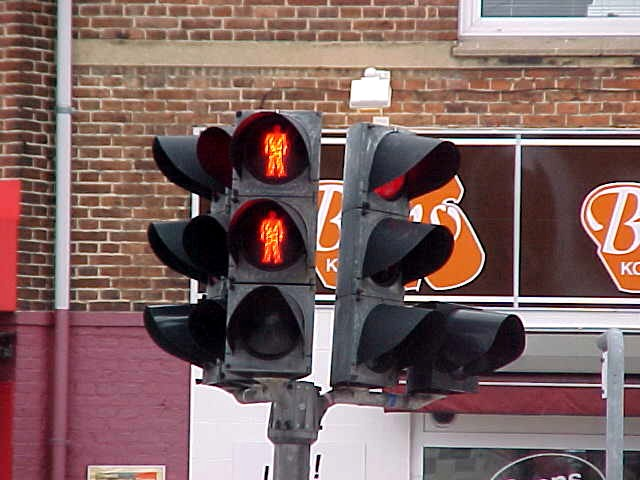 Fun thing here in Denmark. Red traffic lights are double in case one light fails. Then it will not just be dark, but you will always see the other red light. Until both stop working of course... Sounded very Eastern European to me...
