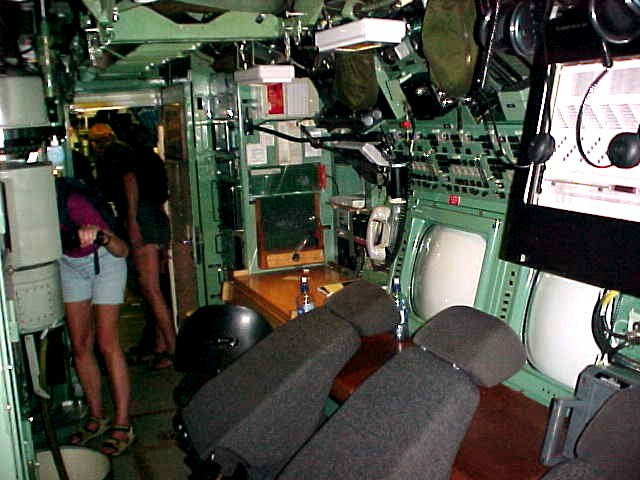 Inside the submarine: the little control room.