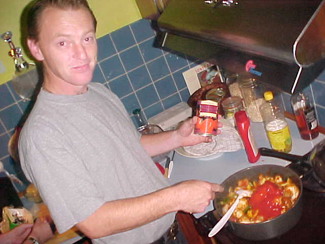 Mark in the kitchen, while preparing his Indian Chicken Curry dinner.