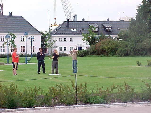 Near the harbour of Kristiansand this group of people were doing yoga.