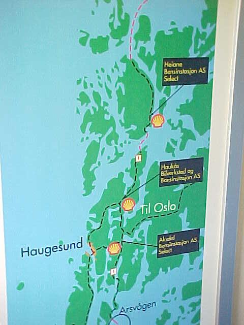 This map on the ferry shows the area. Stavanger is way down south, off the map, while Bergen is way up north, off the map too. It shows were the nearest and only gasstations are on this route.