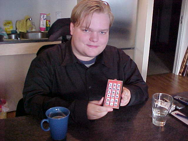 Nikolai shows his multifunctional remote control.