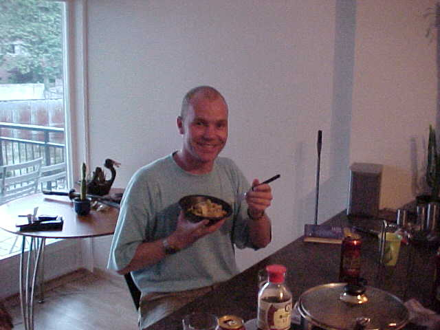 That is that guy staying over, enjoying the Chinese noodles!